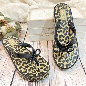 Kate spade platform wedge thong sandals nwob